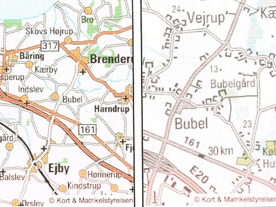 Kort på nettet Bubel før og nu